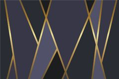 Abstract black, gray and dark blue vector background with shiny metallic golden lines royalty free illustration