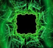 Abstract black and green background. Square fantastic abstract frame, place for text. fantasy shiny green pattern 3d frame. abstract black and green background Royalty Free Stock Images