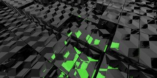 Abstract black and green glass background of 3d blocks Stock Image