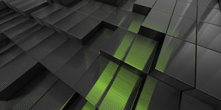 Abstract black and green glass background of 3d blocks. Place royalty free illustration