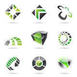 Abstract black and green Icon Set 15. Abstract black and green icon set isolated on a white background stock illustration