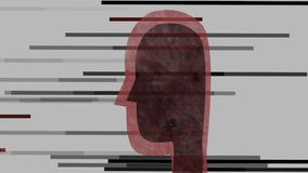 Abstract, black head with lines royalty free illustration