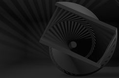 Abstract black helix object in dark. Interior, 3d render illustration stock illustration
