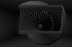Abstract black helix object in dark room. Interior, 3d render illustration royalty free illustration