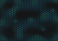Free Abstract Black Hexagon Pattern Of Futuristic Texture With Blue Light Rays Technology Concept Stock Photography - 159414852