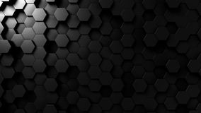 Abstract black hexagonal background 3D rendering. Abstract black hexagonal background 3D stock illustration