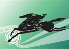 Abstract black horse. Abstract illustration of black horse with decorative green background Stock Photography