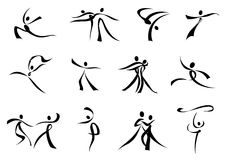 Abstract black icons of dancing people Royalty Free Stock Photography