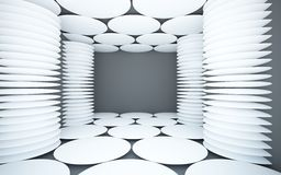 Abstract black interior with white columns Royalty Free Stock Image