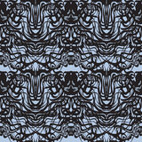Abstract black lace, blue moire vector pattern. Royalty Free Stock Photos