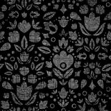Abstract black lace ornamental tulips textile Stock Images