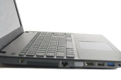 Abstract black laptop. Isolated over white Stock Photo