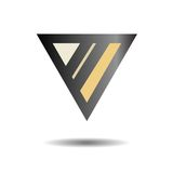 Abstract black logo. The triangle and the two bands. Vector illu. Stration royalty free illustration