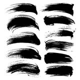 Abstract black long gouache smears set Royalty Free Stock Image