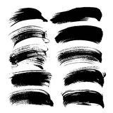 Abstract black long gouache smears set 1 Stock Photo