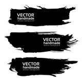 Abstract black long textured strokes Stock Photos