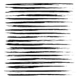 Abstract black long textured strokes paint Stock Photography