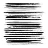 Abstract black long textured strokes set Stock Image