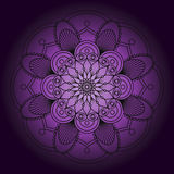 Abstract black mandala. Abstract Black mandala on purple background stock illustration