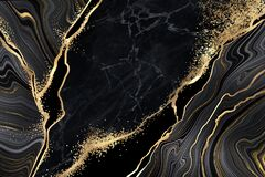 Free Abstract Black Marble Background With Golden Veins, Japanese Kintsugi Technique, Fake Painted Artificial Marbled Stone Texture Stock Photos - 183830753