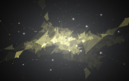 Abstract black mesh triangle technology background light show Stock Photography