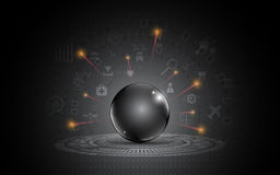 Abstract black metallic sphere template darkness modern design internet of things innovation concept. EPS 10 vector Stock Photo