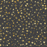 Abstract black modern seamless pattern with gold stars. Stock Photos