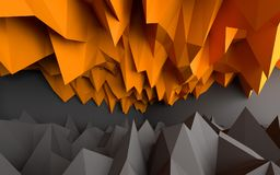 Abstract black and orange background. 3D rendering Stock Photos
