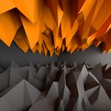 Abstract black and orange background. 3D rendering Stock Image