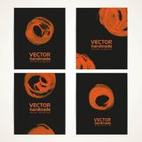Abstract black and orange brush handdrawing banners Stock Images
