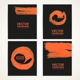 Abstract black and orange brush handdrawing banners Royalty Free Stock Photography