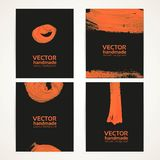 Abstract black and orange brush texture handdrawing banners Stock Photos