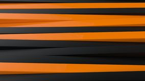 Abstract black and orange panels 3D background. Render illustration Royalty Free Stock Photo