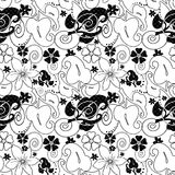 Abstract black ornament seamless pattern on white Royalty Free Stock Photo