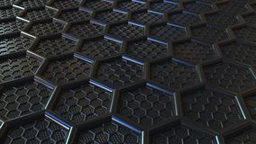 Abstract black plastic hexagons. Modern technology related loopable animation. Abstract black plastic hexagons. Technology related loopable animation stock footage