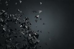 Abstract black polygonal backdrop. Art, creativity concept. 3D Rendering Royalty Free Stock Image