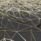Abstract black polygons with gold frame Royalty Free Stock Photography