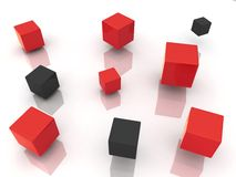 Abstract black and red cubes. Background with many abstract red and black cubes Stock Photos