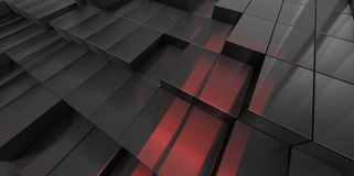 Abstract black and red glass background of 3d blocks. Place Royalty Free Stock Image