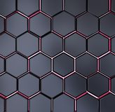 Abstract black and red hexagon texture background pattern 3d rendering. Technology vector illustration