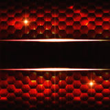 Abstract black red hexagons background with text space. Abstract black red background with hexagons, lights and text space Royalty Free Stock Images