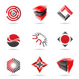 Abstract black and red Icon Set Stock Photography