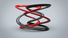 Abstract black and red minimalist sculpture - closeup vector illustration