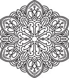 Abstract  black round lace design - mandala, ethnic decora Royalty Free Stock Photo