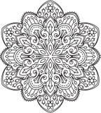 Abstract  black round lace design - mandala, ethnic decora Stock Image