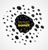 Abstract black scribble dots circle frame banner Royalty Free Stock Image