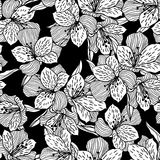 Abstract black seamless flower pattern with orchid Stock Images