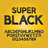 Abstract Black Shade Font and Numbers Stock Photo