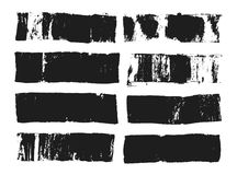 Abstract black smears of paint isolated on white background. Rectangular spots created with paint roller and black. Acrylic. Rectangular text box. Hand drawn vector illustration