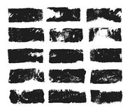 Abstract black smears of paint isolated on white background. Rectangular spots created with paint roller and black. Acrylic. Rectangular text box. Hand drawn stock illustration